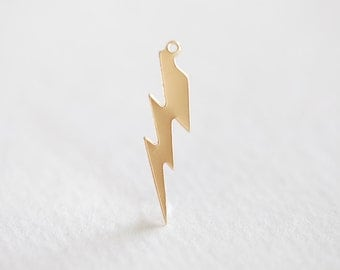 14K Gold Filled Lightning Bolt Charm - 14k gf 26ga 14/20 gf, thunder bolt pendant, 28mm x 4.5mm