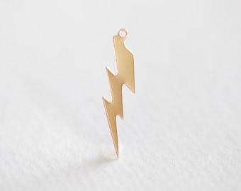 Lightning bolt etsy 14k gold filled lightning bolt charm 14k gf 26ga 1420 gf thunder mozeypictures Choice Image