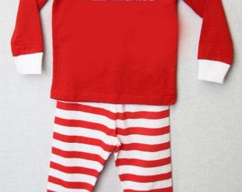 Kids Christmas Pajamas - Personalized Kids Christmas - Christmas PJs - Children's Christmas Striped Kids Pajamas | Baby Christmas PJs 292624