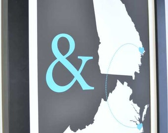 Custom wedding states art print, two states custom art, hearts, love gift for husband and wife, popular wedding gifts husband