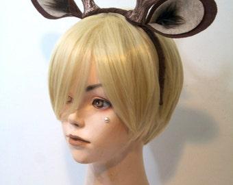 """Faun 4"""" Antlers and Ears Headband / Dark Brown / Deer Costume / Resin Cast"""