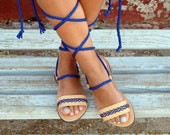 Bohemian Lace up Sandals. Custom Color. Calliope 01 NEW