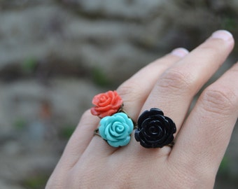 Flower rings, turquoise blue rose ring, black rose ring, coral red rose ring, colorful flower rings vintage style adjustable