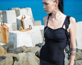 Butterfly sinlet black - Frill singlet - Bamboo singlet - Black singlet - Black bamboo singlet-Sale