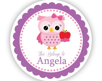 Name Label Stickers - Smart Pink and Purple School Apple Owl Personalized Name Tag Stickers - 2 inch Round Tags - Back to School Name Labels