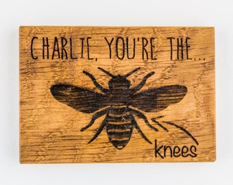 Personalised Bees Knees Magnet- Boyfriend Gift - Girlfriend Gift - Personalised Magnet - Gifts For Her - Love & Romance - Oak Fridge Magnets