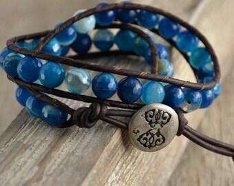 Blue beaded bracelet. Chunky leather wrap bracelet. Beaded jewelry