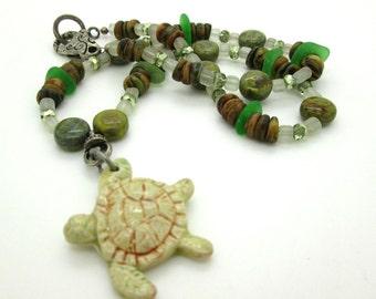 Ceramic Sea Turtle Pendant Necklace, Summer Turtle Necklace, Artisan Turtle Pendant, Women's Jewelry, Whimsical Turtle