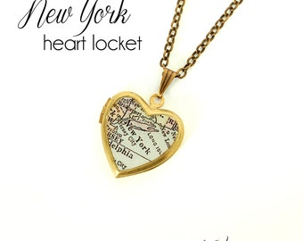 New York City Map Necklace, NY, Antique Map Jewelry, Small Vintage Brass Heart Locket, Travel, Northeast, Gift for Her