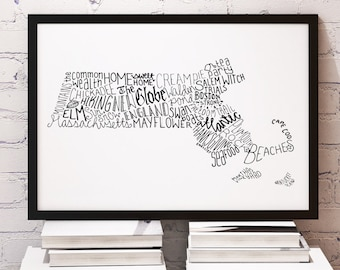 State of Massachusetts Typography Print; Wall Decor; Christmas Gift; Wall Art; Wedding Anniversary Engagement Graduation Gift Decor