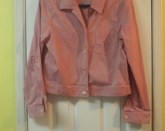 Women's Jacket Size 8 Red and White Striped Cute