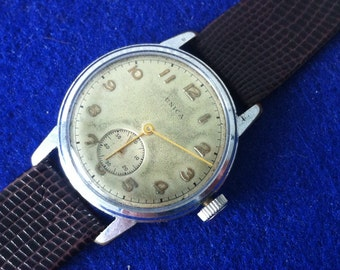 UNICA Swiss Wrist Watch, Military Style, Jeweled Mechanical, Manual, 1940s, Small Seconds, Vintage Men's Watch,  Delovelyness on Etsy