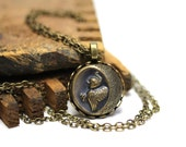 "Harpy Necklace, Greek Mythology Jewelry, Antique Button, Roman Myth Charm, Late 1800s - ""Violent Winds Approach"""