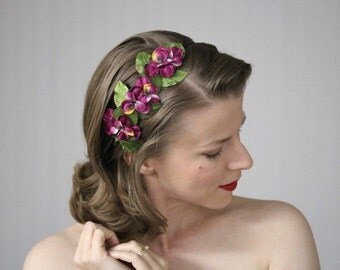 """Fuchsia Flower Headband, Pink Floral Fascinator, Magenta Headpiece, Pansy Hair Accessory - """"Candied Cabernet"""""""