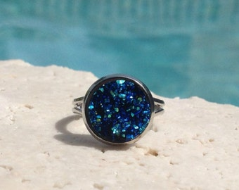 Iridescent blue druzy ring, 12 mm blue druzy ring, boho jewelry, sapphire druzy ring, druzy ring, blue ring, blue jewelry, druzy jewelry