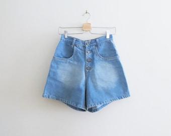 90s True Blues Denim Shorts, Button Up High Waist Jean Shorts, Women US Size 4 to 6 Small