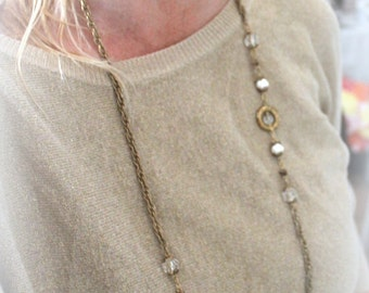 long golden vintage chain- shabby chic  jewelry