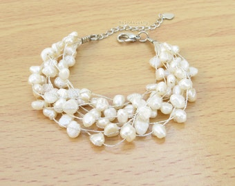 White freshwater pearl bracelet with crystal on silk thread, multi strands, bridal bracelet, wedding jewelry