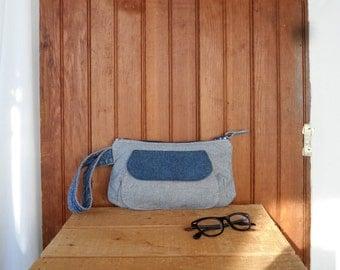 Zipper pouch wristlet recycled denim pencil make up bag case