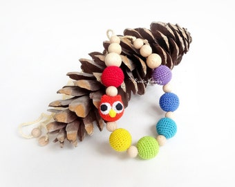 Owl Teething Rainbow Nursing Necklace Crochet Breastfeeding Colorful necklace Slinging mom