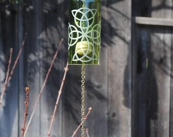 Celtic Cross Wine Bottle Windchime - Upcycle Windcatcher Eco Friendly Rememberance Wedding Mothersday Garden Cut Wine Bottle Irish Green