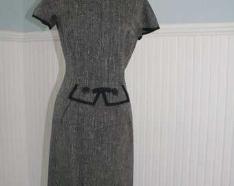 Mad Men Black and grey 1950s wiggle dress, 50s day dress at its best!
