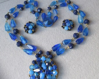 SALE! 1950's Vintage Germany Vibrant Blue Genuine Lucite Bead Two-Strand Necklace & Earrings Set
