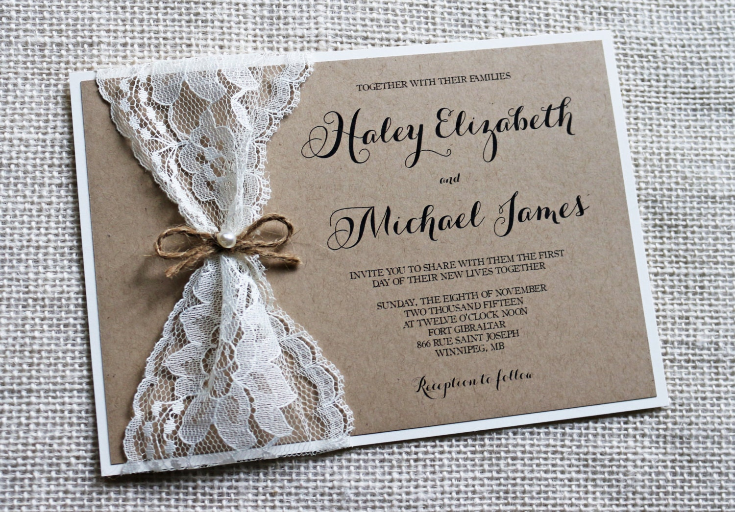 Wedding Invitation With Lace: Rustic Wedding Invitation Lace Wedding Invitation Rustic