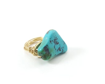 Turquoise Wire Wrapped Ring - Ring Size 6.5 - Gold Ring - Statement Ring - Chunky Ring - Ring Size 6 - Turquoise Jewelry - Gift for Her