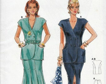Vintage 90's Burda 4242 Sewing Pattern Eight Opened Gore or Straight Center Spit Skirt Double Breasted Waistcoat Top Size 8 - 18 Uncut