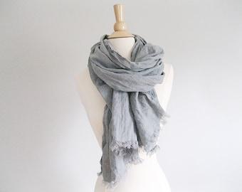 Summer Blanket Scarf | Lightweight Scarf | Summer Linen Scarf | Linen Blanket Scarf with Fringe | Trending Items