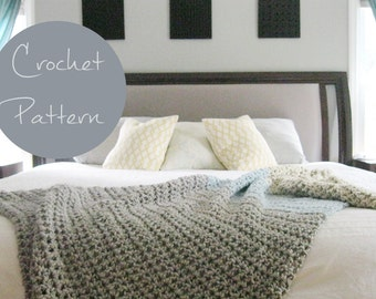 DIY Throw Pattern, Crochet Throw Pattern, Rustic Throw Blanket Instant Download PDF Pattern