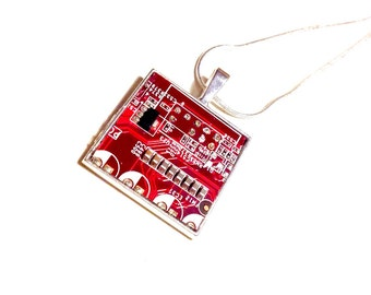 Cyberpunk pendant necklace mother board computer steampunk electronic electropunk geek statement recycled upcycled