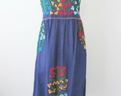 Embroidered Mexican Dress Cotton Strapless Dress With Lining In Blue, Boho Dress, Beach Dress