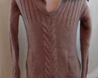Vintage 60s  70s Men's Preppy Light Brown Neck Collared V Neck Sweater Size L.