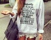 Favorite Books Movies Locations Harry Potter Geek Cute Sweatshirt