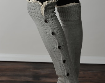 FREE SHIPPING! Leg Warmers, Grey Leg Warmers, Button Leg Warmers, Lace Leg Warmers, Boot Cuffs
