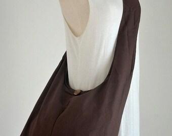 SALE 20% -- Dark Chocolate Cotton Messenger Bag Shoulder Bag Handbags Hippie Bag Hobo Bag Sling Bag Crossbody Bag Diaper Bag Overnight Purse