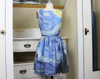 Starry Night Dress - Vincent Van Gogh, Blue, Galaxy, Painting, Art, Artist