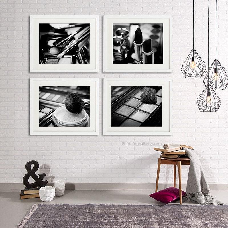Chanel Makeup Bathroom Decor Set Of 4 Black And White