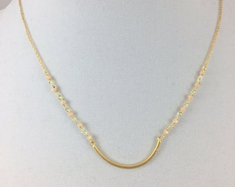 Light Pink Beaded Chain and Brass Bar Necklace
