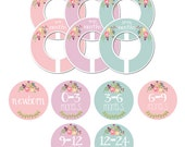 Closet Dividers and Matching Bin Labels for Organizing and Storing Clothes, Baby Girl Nursery Clothing Organization, Baby Shower Gift CD009