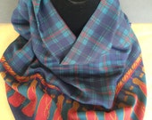 Vintage Huge Navy Tartan Plaid with Tassel Border Woven Cotton Scarf