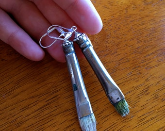 Small Paintbrush Earrings