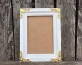 5x7 Picture Frame, White & Gold, 5x7 wedding Frame,Nursery, white and gold decor, gift(Los Angeles)