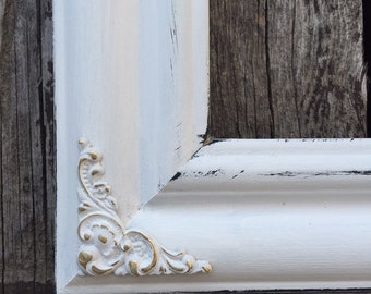 White 8x10 Picture Frame, Ornate, Shabby Chic, White Frame, Nursery, Glass and Backing, wedding frame, #DistressedBrightwhite (Los Angeles)