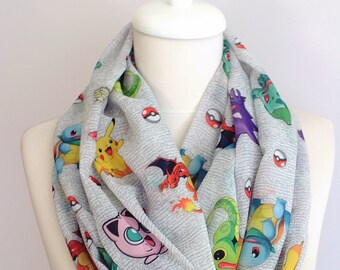 Pokemon Infinity Scarf, Circle Geek Scarf Summer Fall Winter Session gift for her girlfriend print scarf