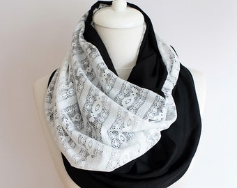 Black and White Lace Infinity scarf, Circle scarf, Loop scarf, Mothers Day Gift Ideas For Her Women Fashion Accessories Unique Gift
