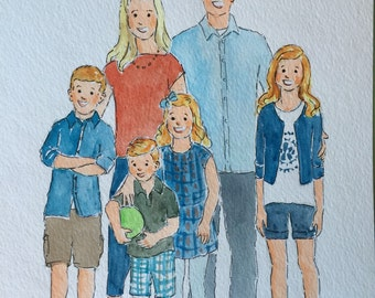 Family portrait illustration -up to 10 people  8x10 or 11x14