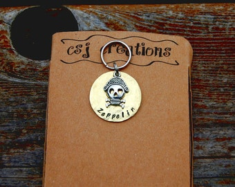 Personalized Hammered Brass Pirate Dog ID Tag, Custom Hand Stamped Hammered Brass Pirate Dog Tag, Pirate Dog ID Tag, Cute Pirate Dog Tag